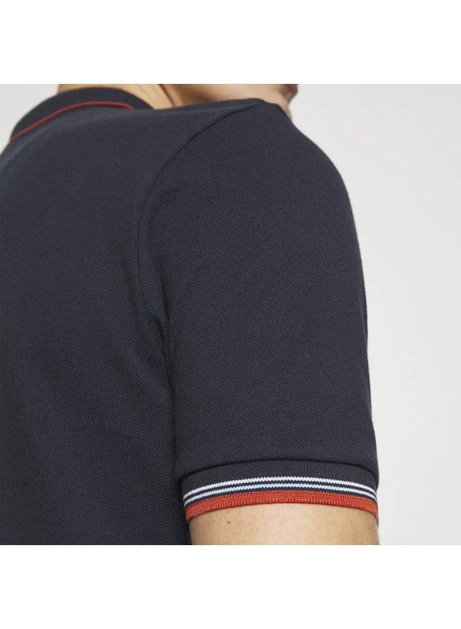 Tipped polo shirt dark navy burnt orange