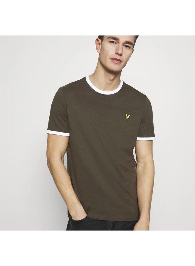 Ringer t-shirt trek green/white