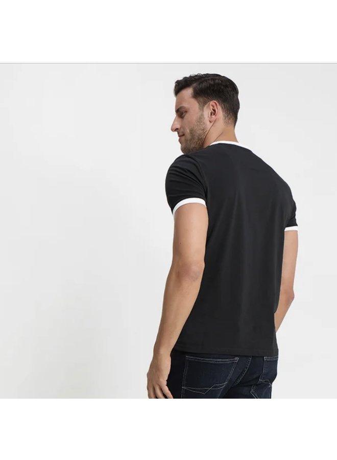 Ringer t-shirt jet black / white