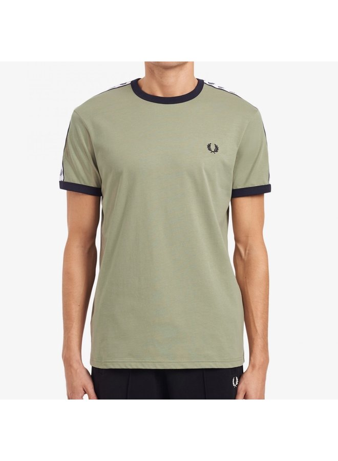 Taped ringer t-shirt - seagrass