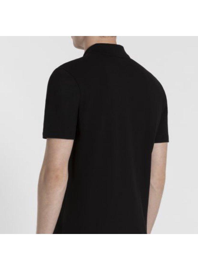 Organic cotton pique polo - black