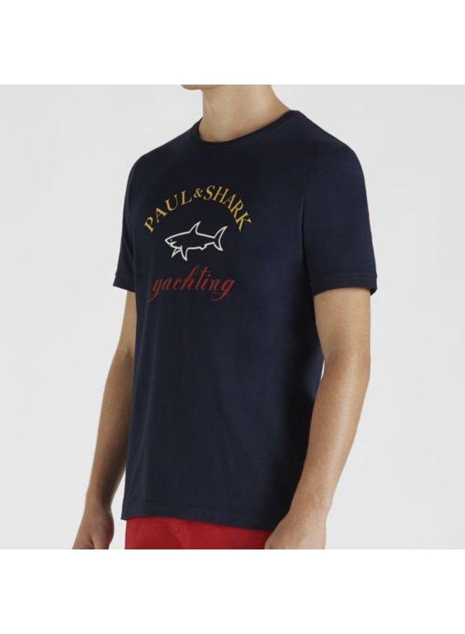 Organic cotton t-shirt printed logo - navy