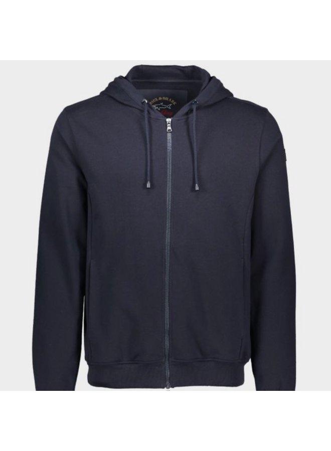 Organic cotton full zip sweatshirt - navy