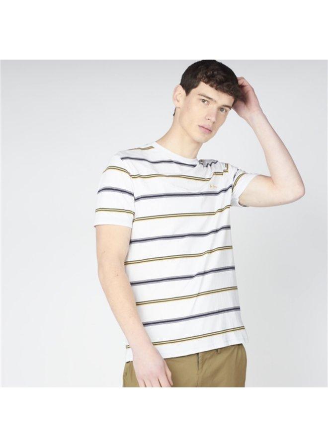 Collegiate stripe tee - white
