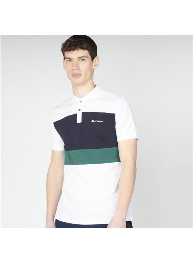 Colour block polo - white