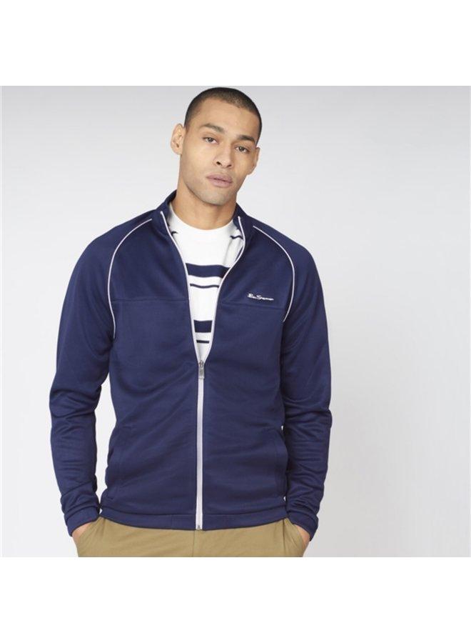 Tricot zip through jacket - marine