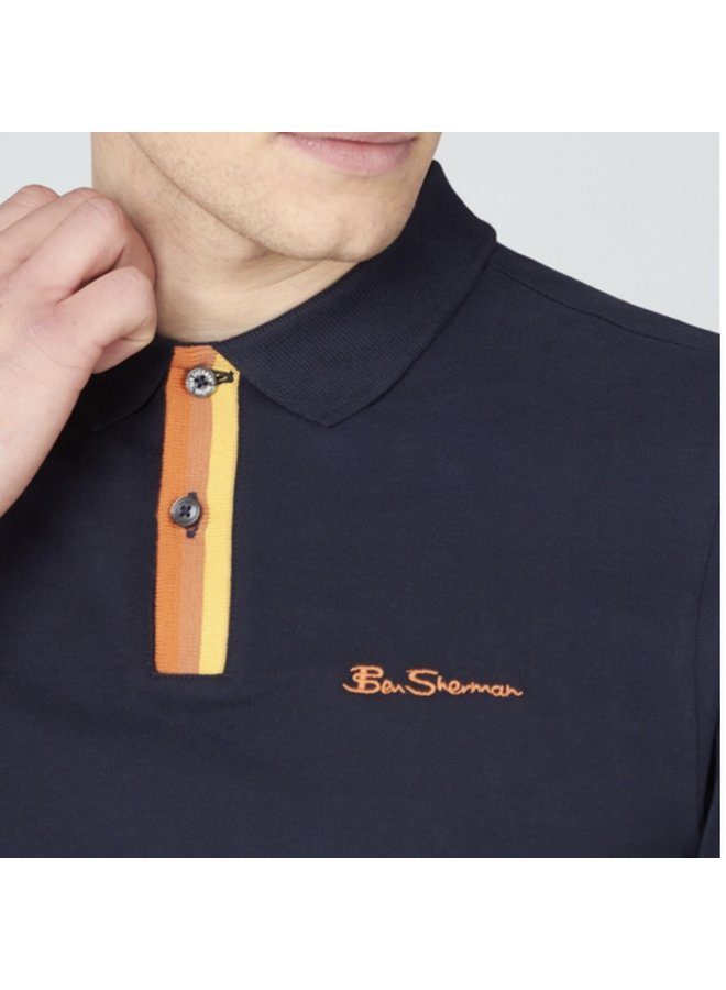 Placket interest polo shirt - black