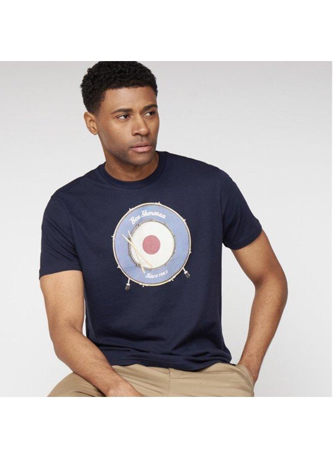 Drum target graphic t-shirt / dark navy