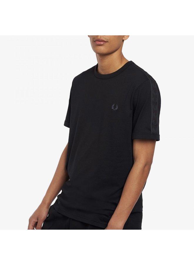 Tonal taped ringer t-shirt - black