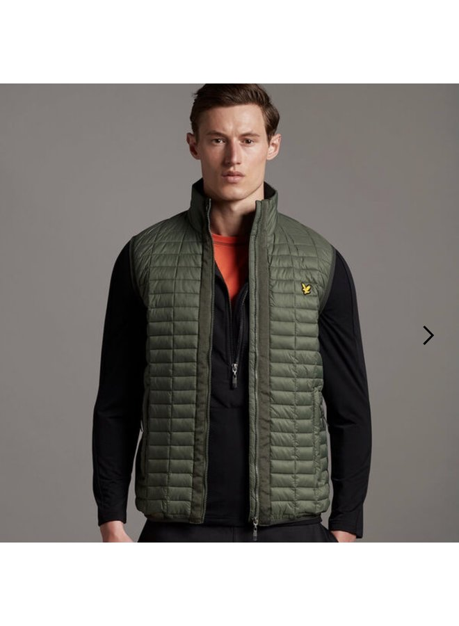 Block quilted gilet - cactus green