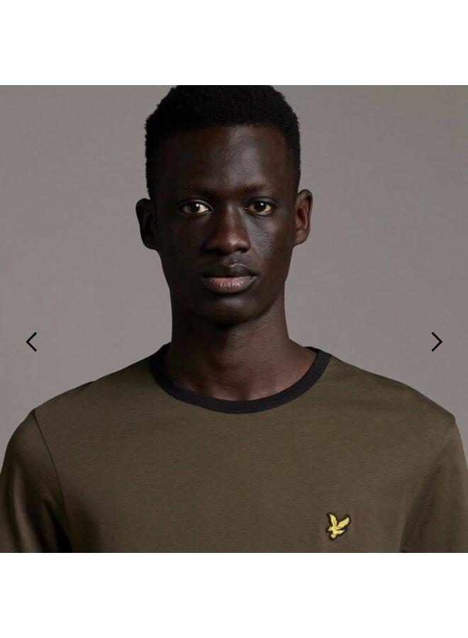 Ringer t-shirt - olive/jet black