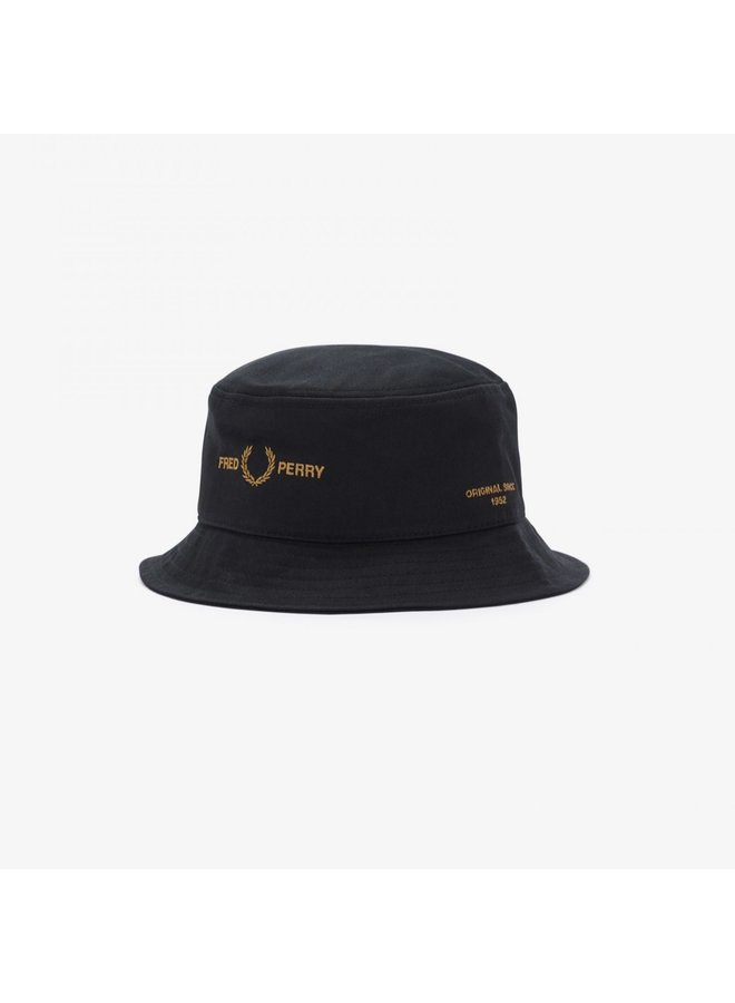 Branded twill bucket hat - black
