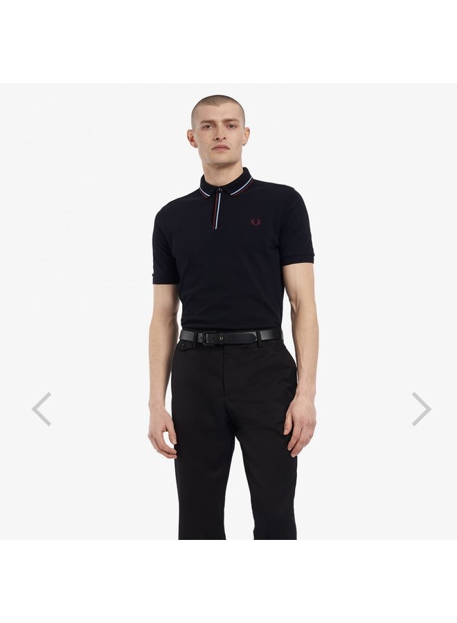 Tipped placet polo shirt - black
