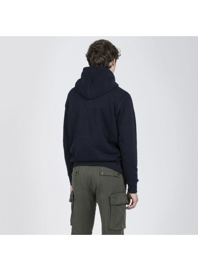 Organic cotton hoodie winter fleece - navy