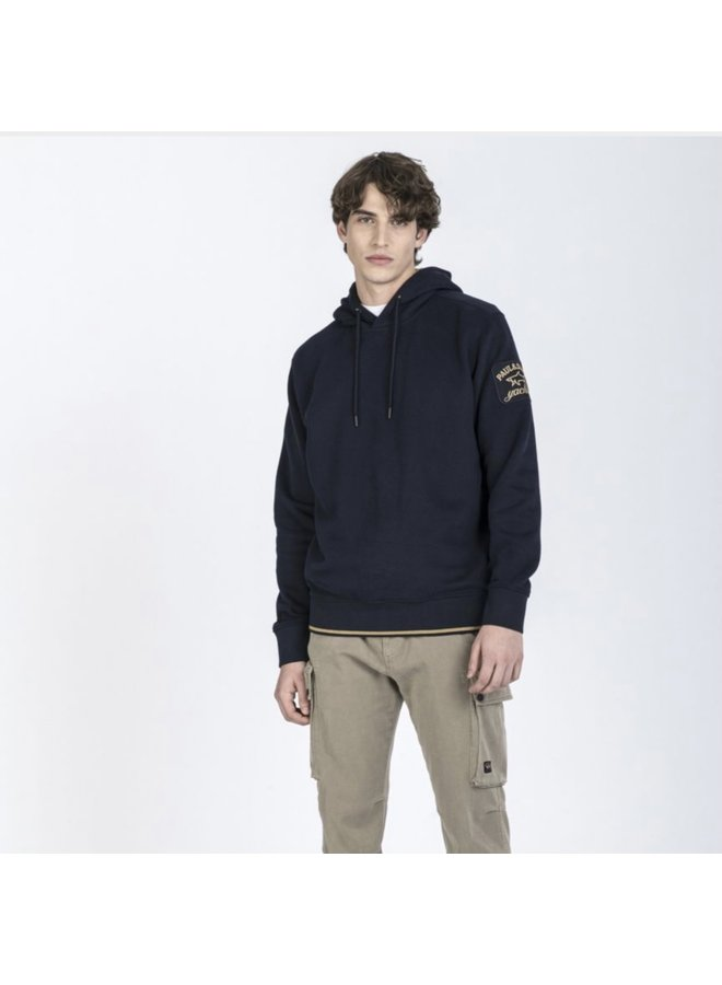 Organic cotton hoodie with iconic badge