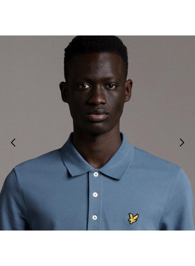 Plain polo shirt - slate blue