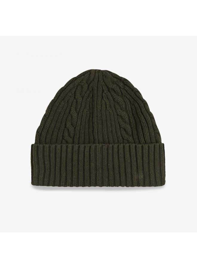 Cable branded beanie - hunting green