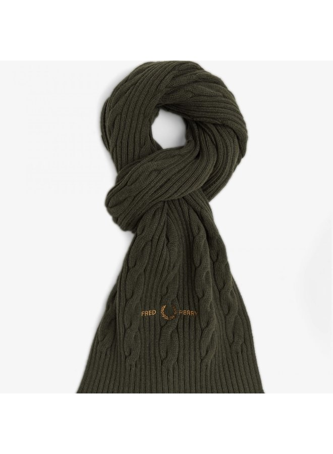 Cable branded scarf - hunting green