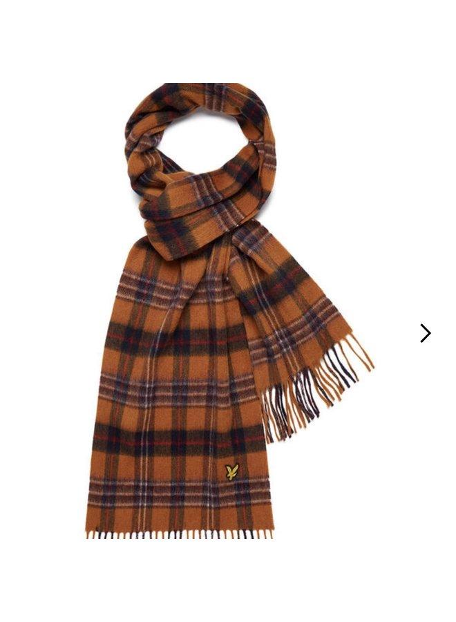 Tartan lambswool scarf - rust