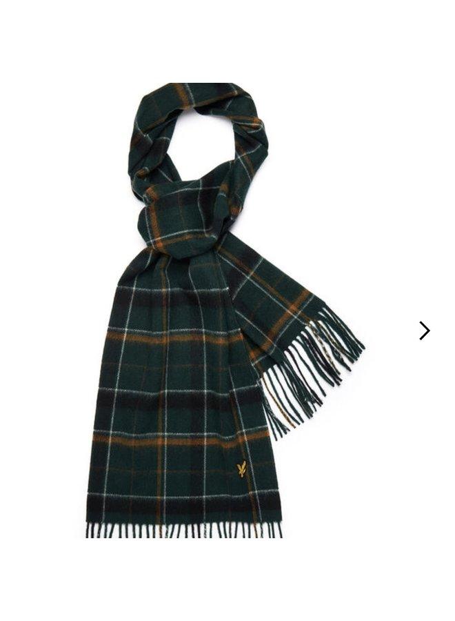 Tartan lambswool scarf - dark green