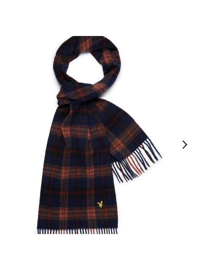 Tartan lambswool scarf - dark navy