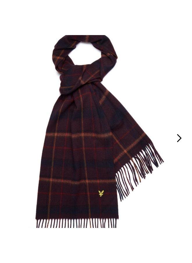 Tartan lambswool scarf - burgundy
