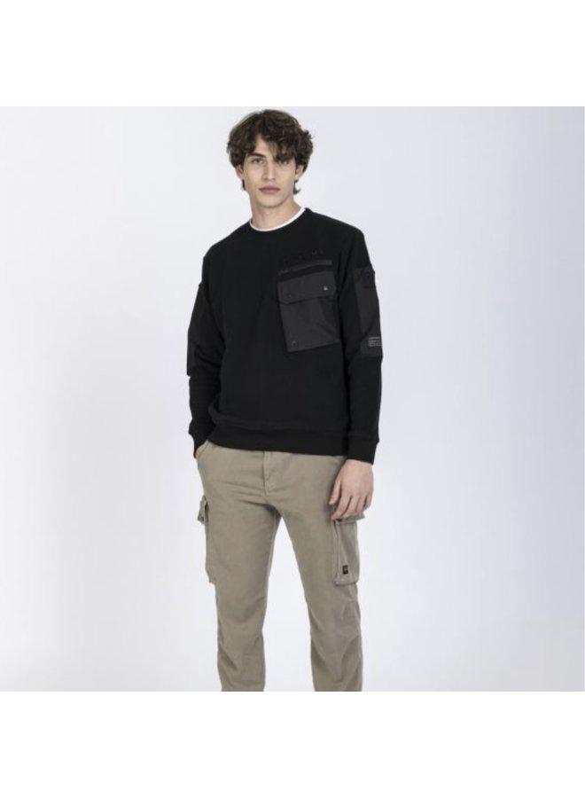 Organic cotton sweatshirt with pocket - black