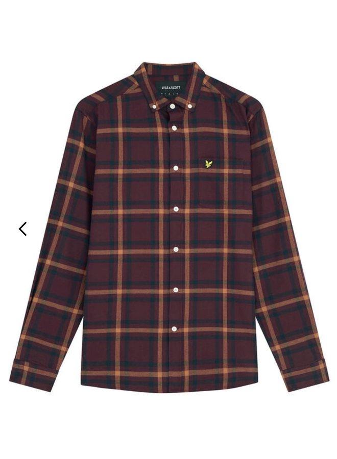 Check flannel shirt - burgundy