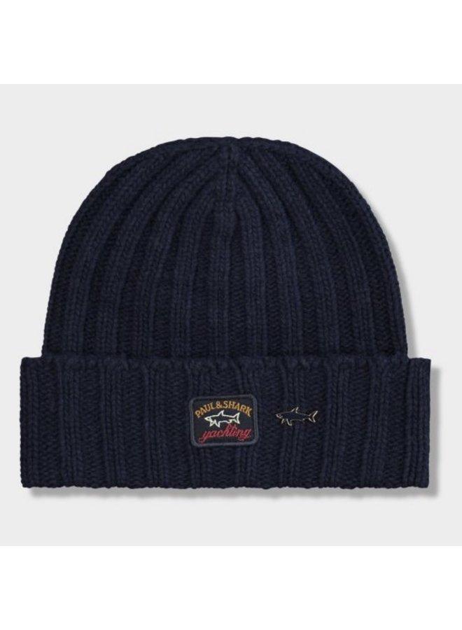 Éco-wool ribbed beanie - dark navy