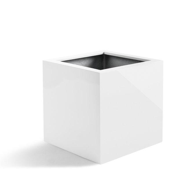 """Pflanzkübel """"Argento Cube"""" Weiß Hochglanz Quadratisch Fiberglas"""