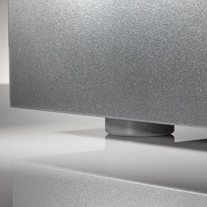"Pflanzkübel ""Metallico Leon"" Low Cube Sabbia Quadratisch Chromstahl"