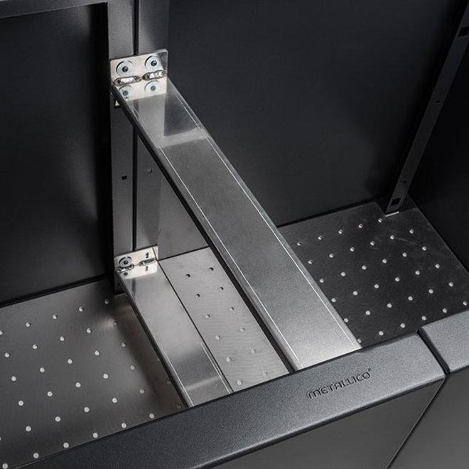 Pflanzkübel ''Metallico Hochbeet Erweiterungspaket'' Espresso Chromstahl - 74x80cm - F1078-ESP