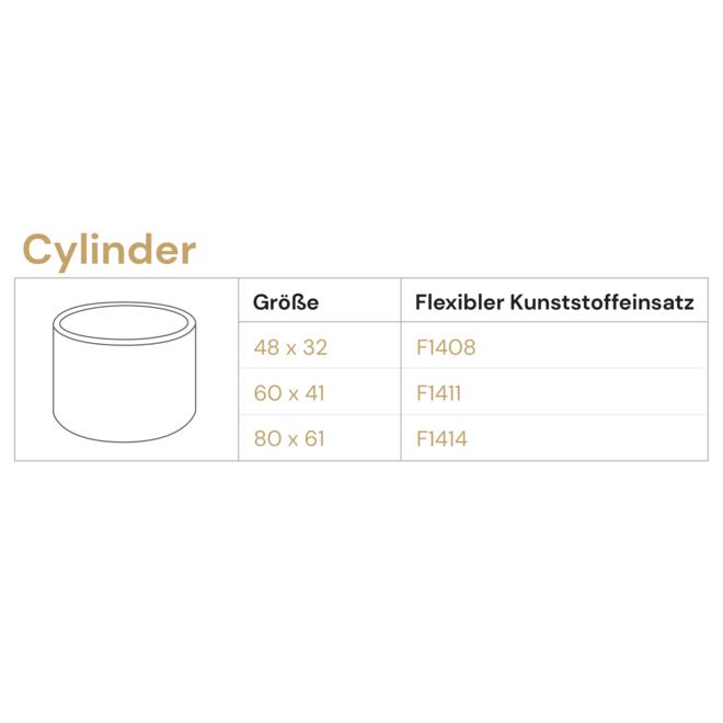 Pflanzkübel ''Grigio Cylinder'' Creme Weiß Rund Fiberglas