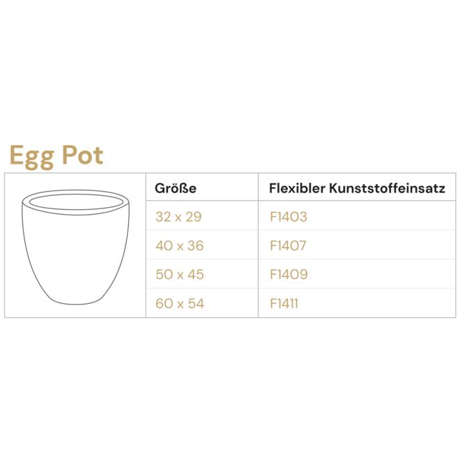 Pflanzkübel ''Grigio Egg Pot'' Creme Weiß Rund Fiberglas