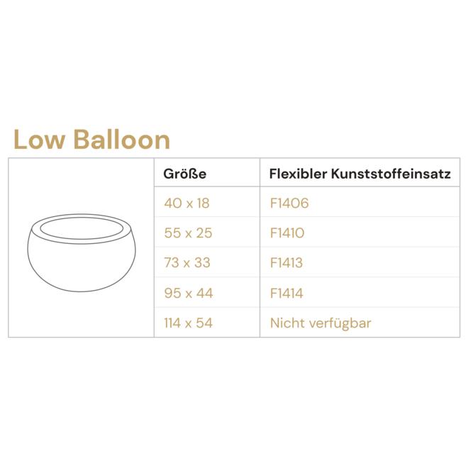 Pflanzkübel ''Grigio Low Balloon'' Anthrazit Rund Fiberglas