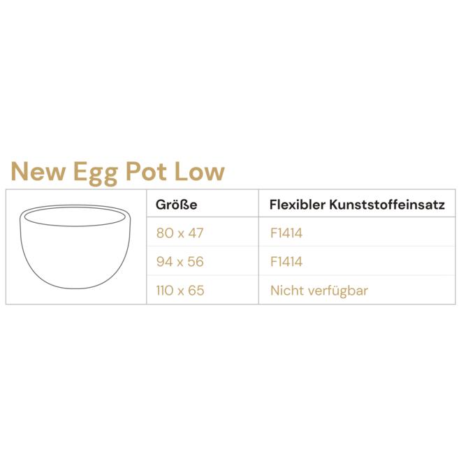 "Pflanzkübel ""Grigio New Egg Pot Low"" Creme Weiß Rund Fiberglas"