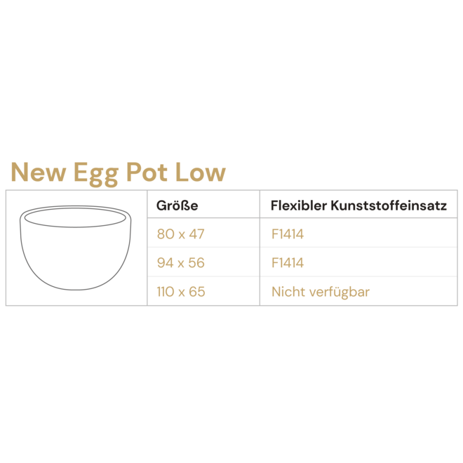 Pflanzkübel ''Grigio New Egg Pot Low'' Grau Rund Fiberglas
