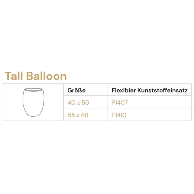 Pflanzkübel ''Grigio Tall Balloon'' Creme Weiß Rund Fiberglas