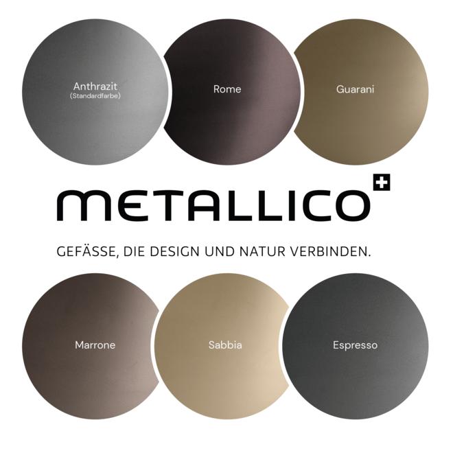 "Pflanzkübel ""Metallico Leon"" Low Cube Rome Quadratisch Chromstahl"
