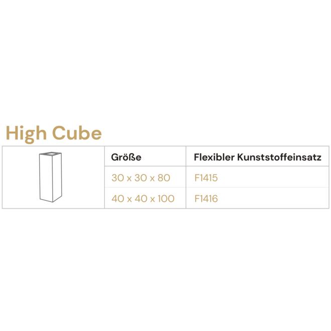 Pflanzkübel ''Grigio High Cube'' Anthrazit Eckig Hoch Fiberglas