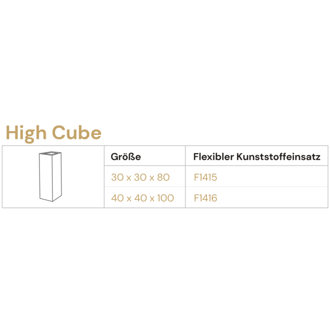 "Pflanzkübel ""Argento High Cube"" Betongrau Eckig Hoch Fiberglas"