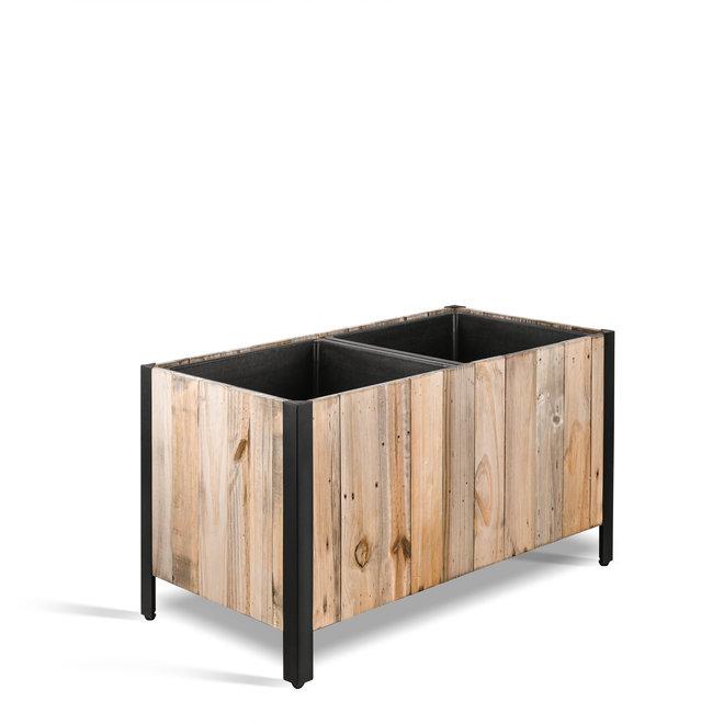 "Pflanzkasten ""Marrone Box Metal"" Dark Flame Wood Rechteckig Holz"