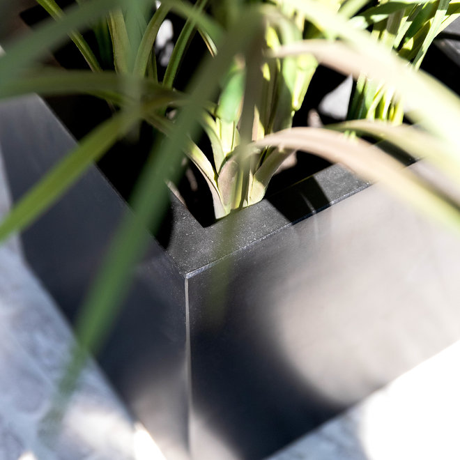 "Pflanzkübel ""Argento Cube"" Schwarz Quadratisch Fiberglas"