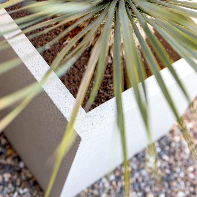 Pflanzkübel ''Grigio Low Cube'' Creme Weiß Quadratisch Fiberglas