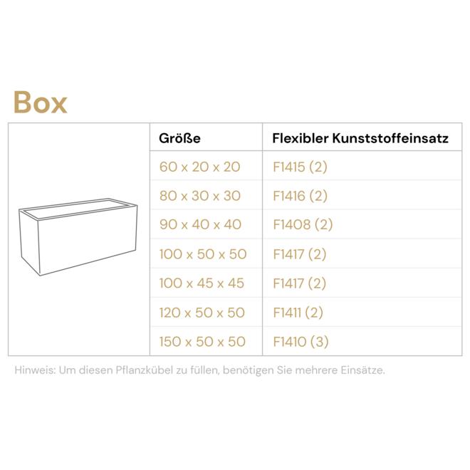 """Pflanzkasten """"Argento Box"""" Schwarz Rechteckig Fiberglas"""