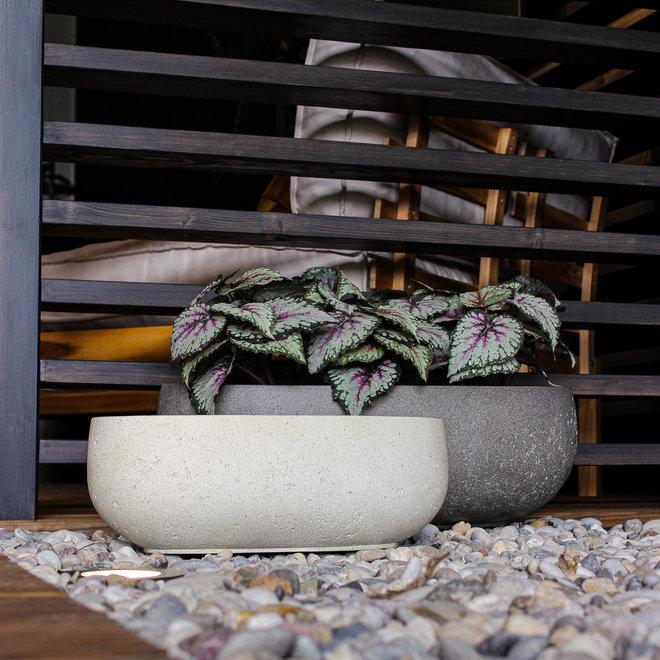 Pflanzkübel ''Grigio Longtail'' Creme Weiß Rund Fiberglas