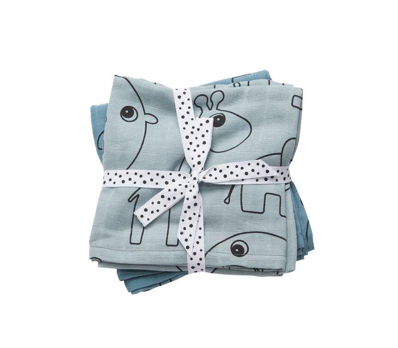 Burp cloth, 2-pack, Contour, blue