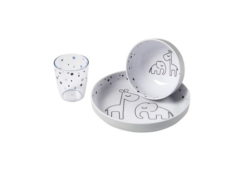Done by Deer Yummy mini dinner set, Dreamy dots, grey
