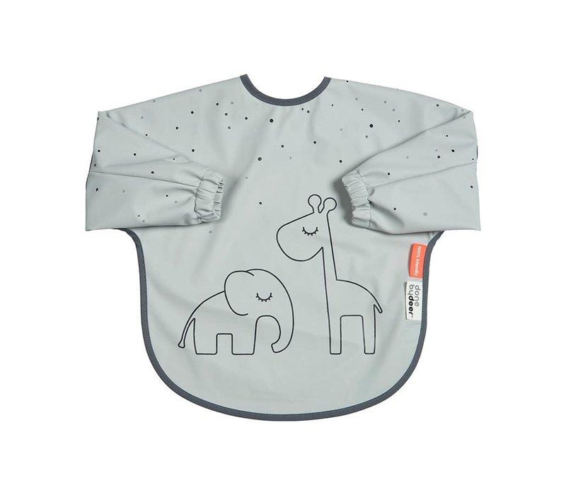 Sleeved bib, 6-18m, Dreamy dots, grey
