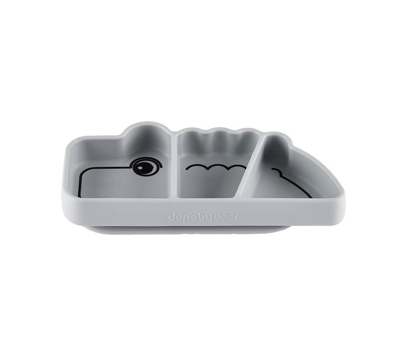 Silicone Stick & Stay snack plate, Croco, grey